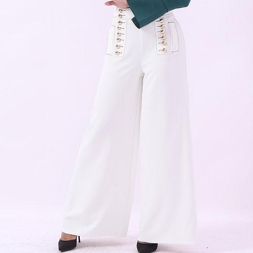 pants with Gold bottons - بنطلون عريض مع ازارير ذهبية