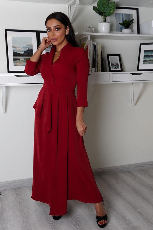 فستان ميدي بكسرة ذات أكمام - DRESS