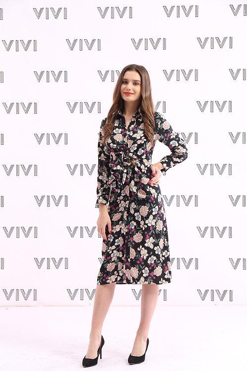 Stylish Floral Dress with belt-  فستان زهور وحزام بتصميم انيق