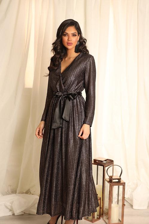 فستان بلمعة طويل بربطة على الخصر - DRESS