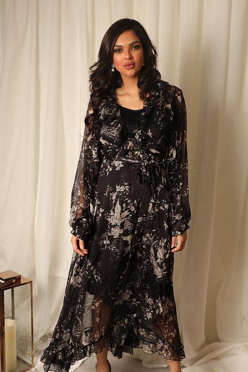 فستان ميدي مشجر من الشيفون -DRESS