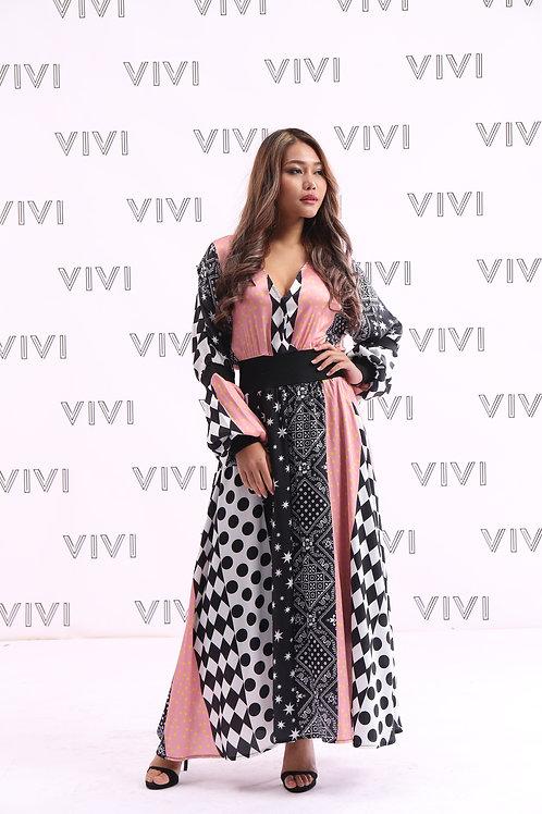 فستان طويل- مشجر بأكمام طويلة