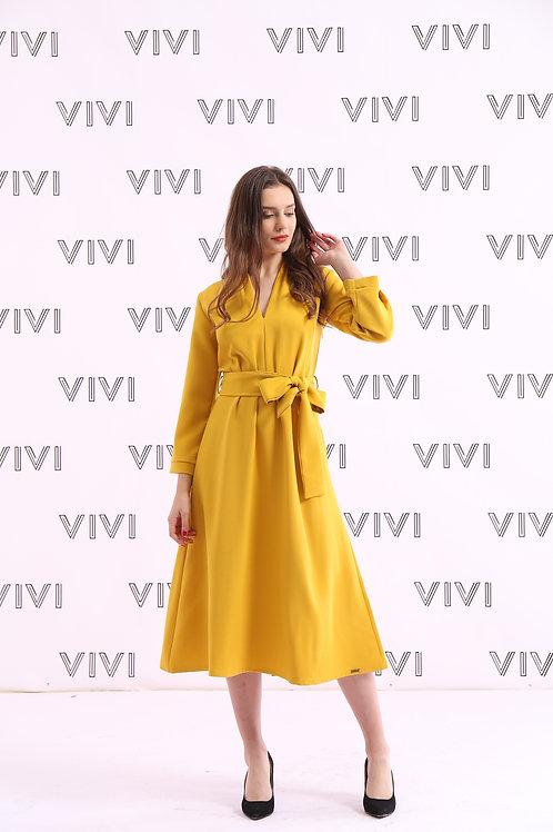 فستان ميدي بحزام على الخصر وأكمام طويلة وأنيقة - DRESS