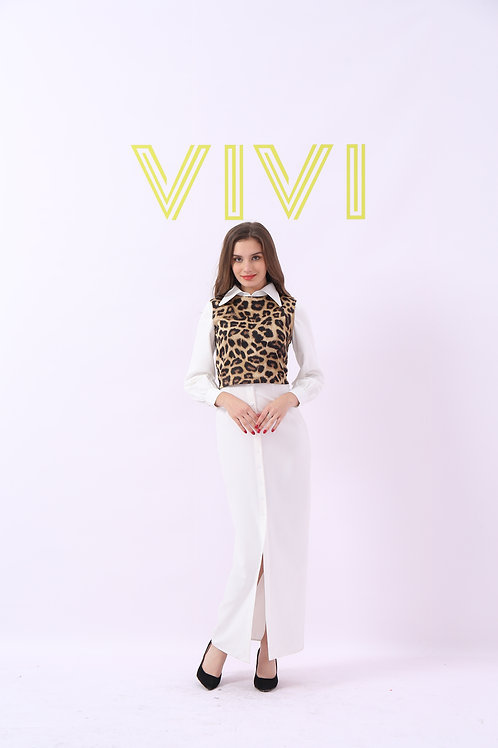 Maxi Dress with tiger top - فستان ابيض طويل مع تايجر توب