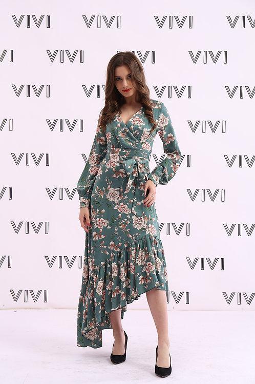 Floral Medi dress with belt -  فستان ميدي مع حزام متالق وقصه مميزة