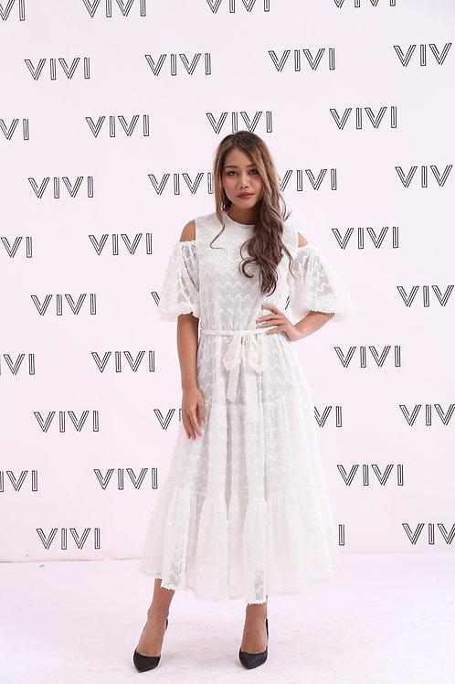 فستان بحزام على الخصر - بدون أكتاف بتصميم سادة عصري