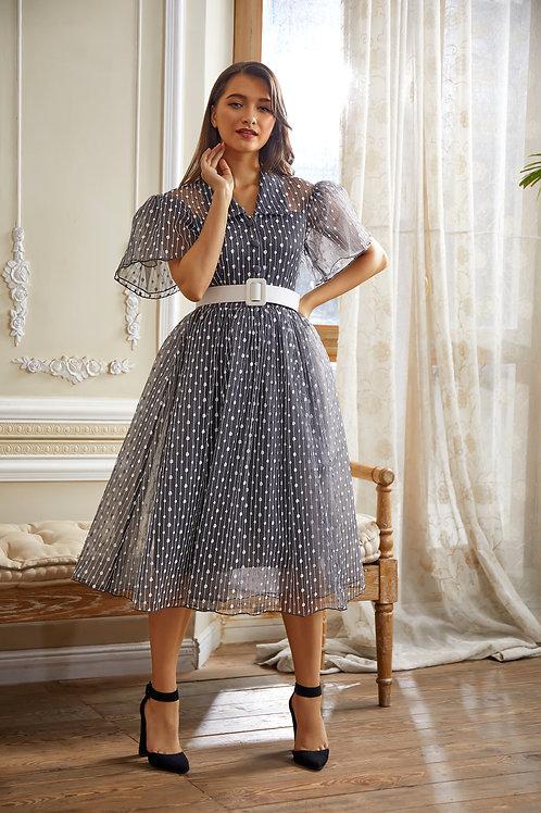 فستان بياقة وتصميم عصري