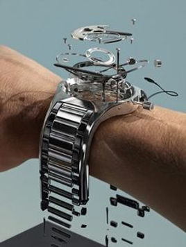 exploded view of a wristwatch