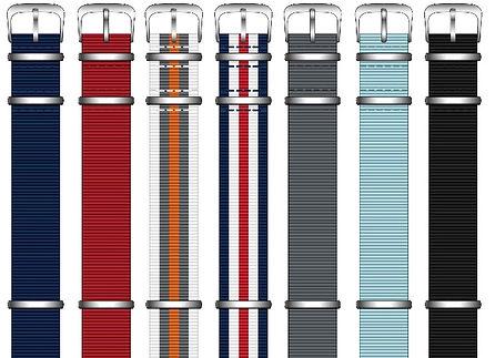 Werbeuhr mit 7 verschiedenen Nylonbandfarben wählbar