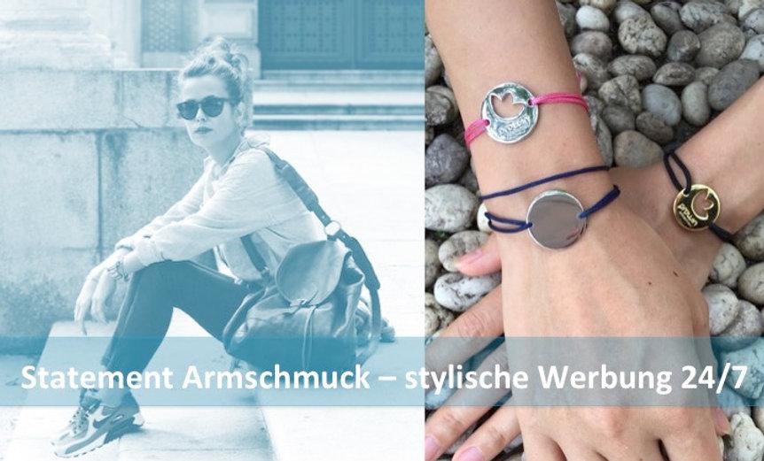 Statement Armbänder, stylischer Langzeit Werbeschmuck von Zeitmanufaktur