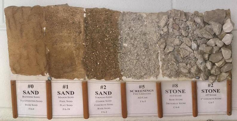 Sand, Stone, Gravel, FA-0, FA-19, FA-2. FA-5, CA-6. CA-7, CA-16, CA-5, Torpedo Sand, Coarse Sand, Concrete Stone, Blending Sand, Tuckpointing Sand, Bank Sand, Mason Sand, Pool Sand, Play Sand, Lime Stone, River Rock, Pea Gravel