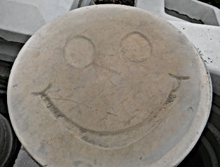 Smiley Face Stamped Patio Block, Smile, Smiley Face Patio Block