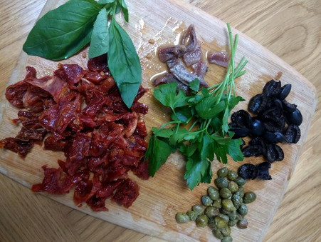 Pasta with sun dried tomatoes olives and capers