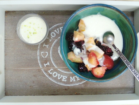 Rum Roasted Fruits with Lime and Coconut Cream