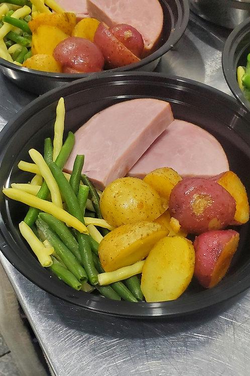 Ham and roasted potatoes