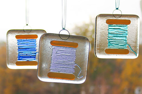 Fused glass thread window decorations
