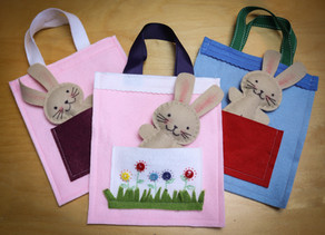 Free patterns for mini-stitchers:  mini tote bag (with a bunny sized pocket)