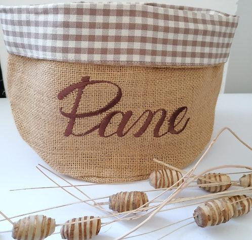 Cestino porta pane in juta e cotone con ricamo