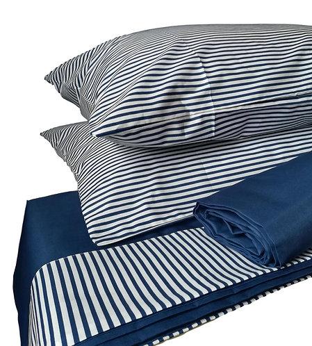 lenzuola a righe bianche e blu