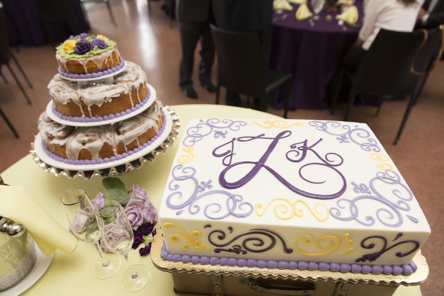 Wedding cake and cinnamon rolls