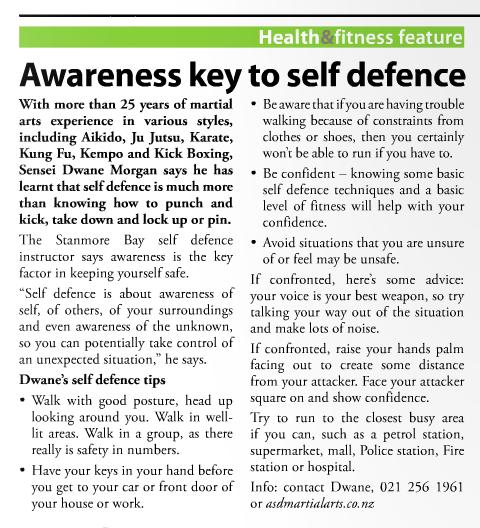 Awareness key to self defence