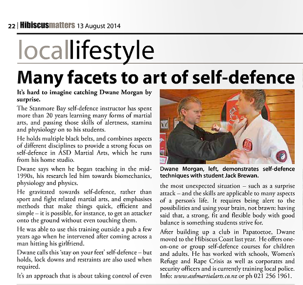 Many facets to art of self defence