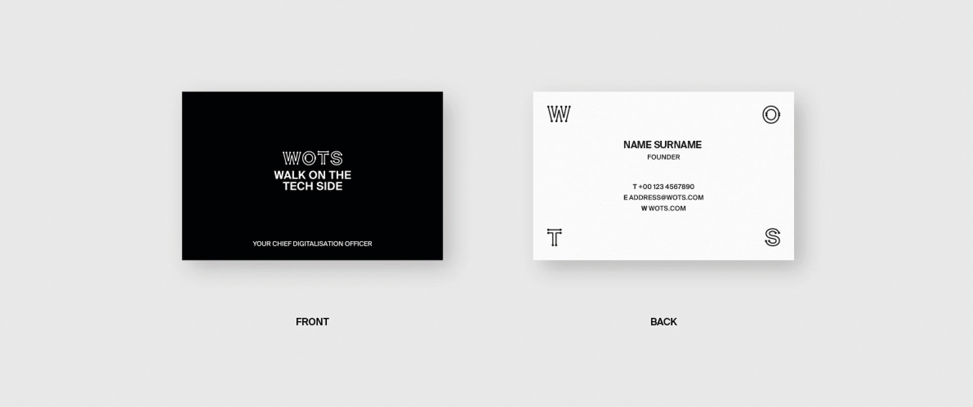 WOTS business cards branding