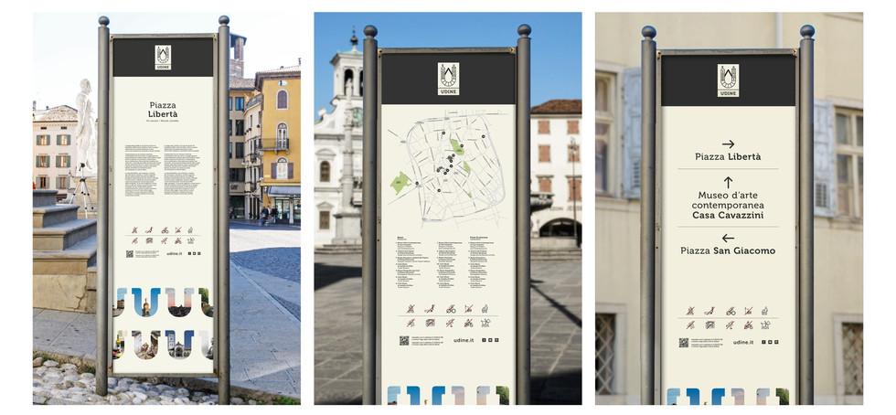 Udine city branding totems
