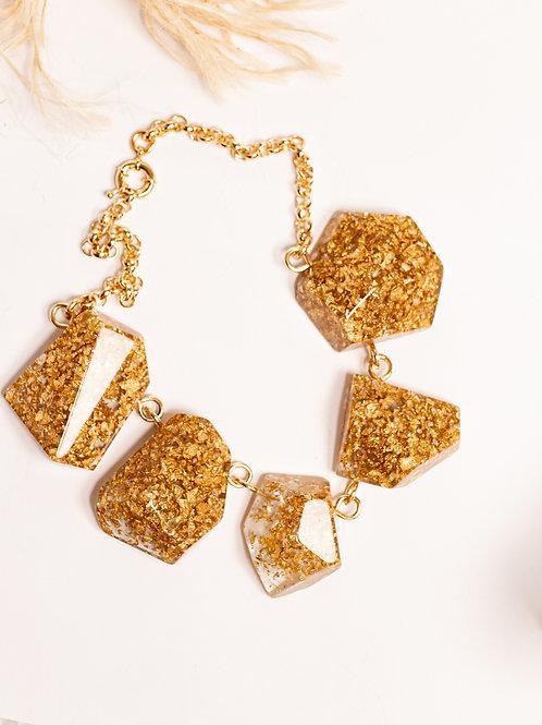 Colar pedras ouro transparente
