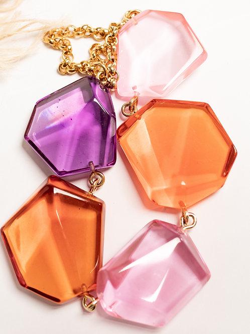 Colar pedras coloridas transparente
