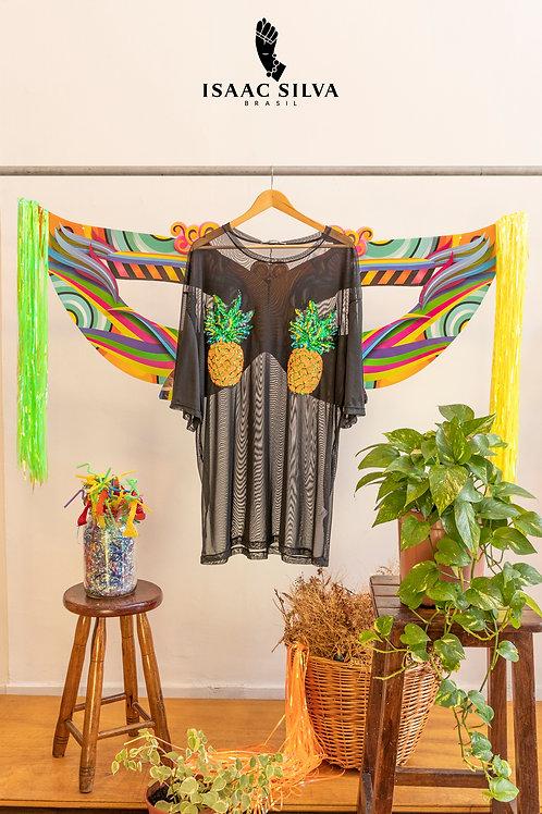 Camisetão preto transparente abacaxi