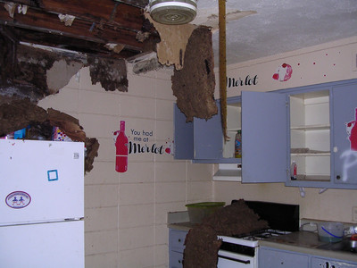 Picture of the interior of a building damaged by a hurricane