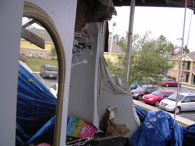 Picture of a building damaged by a hurricane