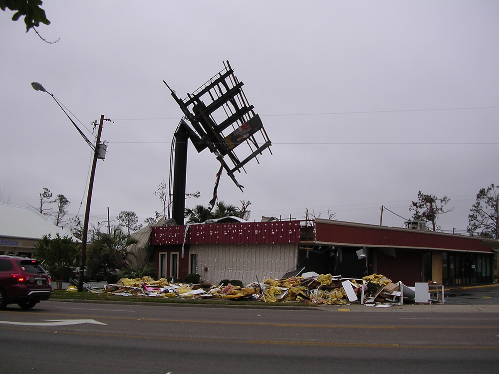 Picture of billboard damaged by a hurricane