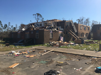 Picture of building damaged by a hurricane