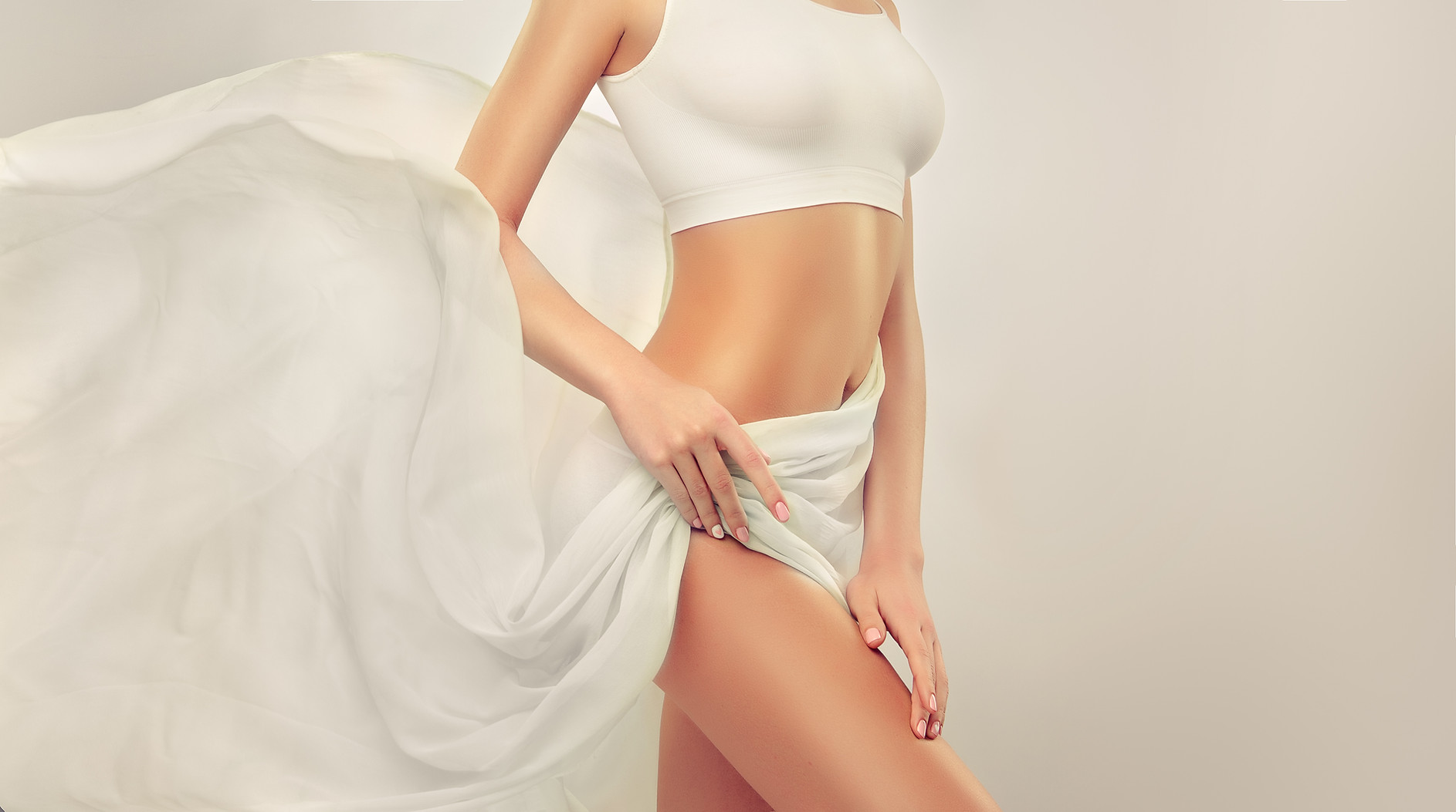 Perfect slim toned young body of the gir