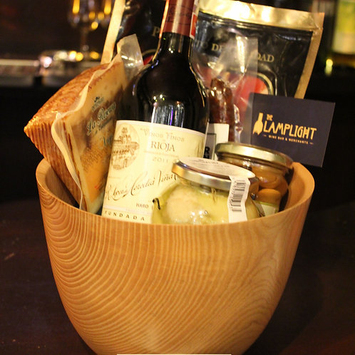Handcrafted Ash Bowl & Artisan Wine & FoodGift