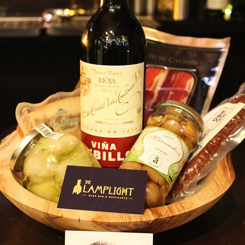 Elm Wood Bowl & Artisan Wine & Food Gift
