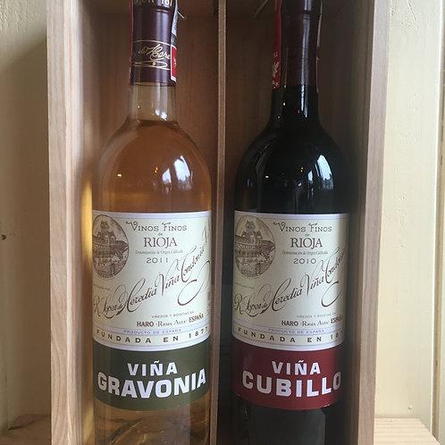 Duo of Gravonia & Cubillo Rioja Crianza (wooden box)