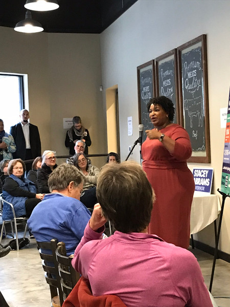 Stacey Abrams speaking to our group.