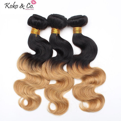 8A Brazilian Straight/ Body Wave 1B/27 Hair 3pc