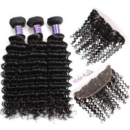 8A Natural Wave 3pc + 13x4 Frontal