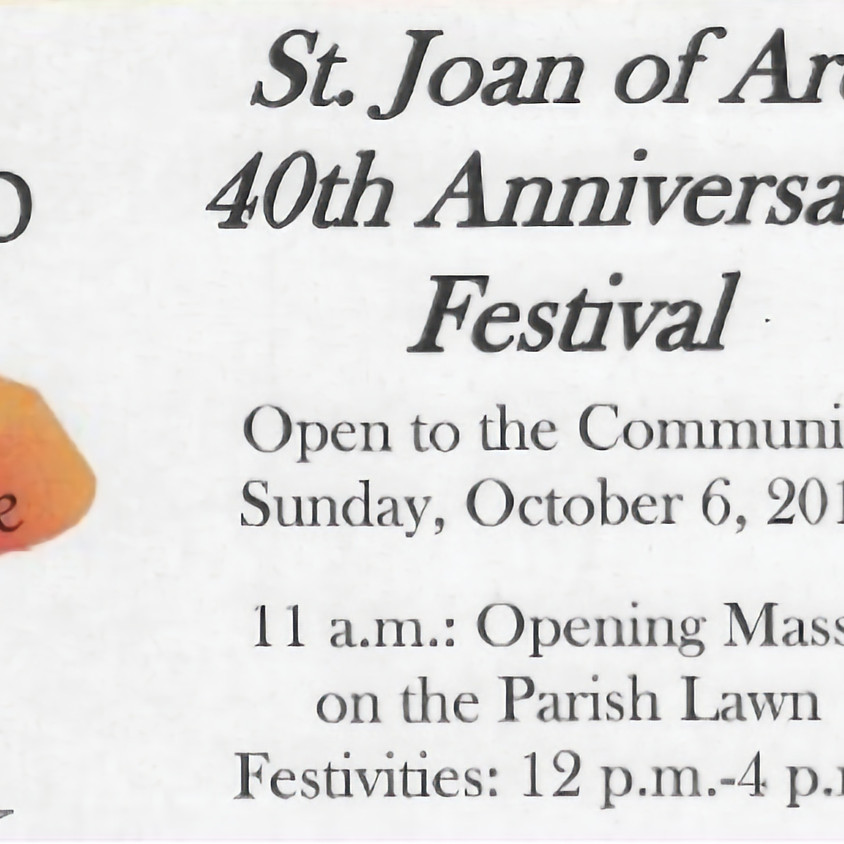 St Joan of Arc 40th Anniversary Festival - EXAMPLE