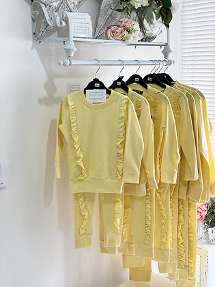 Girls frill Loungewear Set 2y-14yrs - LEMON