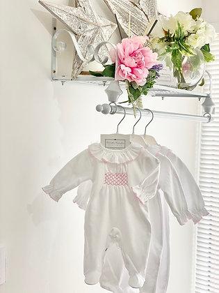 Baby girls Smocked white Babygrow with pink detail