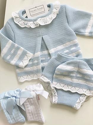 Jam pant set with Hat  3 piece Knit Set - BLUE