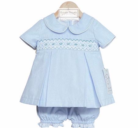 Baby Girls Blue Smock Dress Set