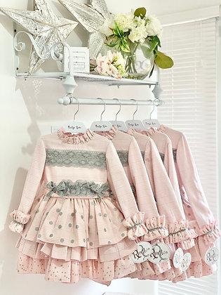 Ricittos - Girl Pink & Grey Puffball Dress