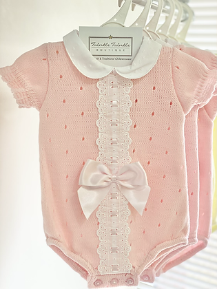 Baby Girls Ribbon Slot Bow Romper - PINK