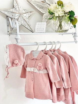 Girls Pom Pom Knit Coat & Bonnet - DUSKY PINK